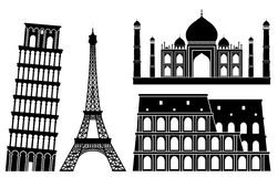 Illustrations of world's famous places (set 1). In the vector version of this image you can move any element, change its colour or size without any loss in Royalty Free Stock Photos