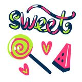 Cute sweet illustration lolipop watermelon and hearts. Illustrations. You can use it as a seamless pattern or  stickers Stock Photos