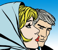 Illustrations of young couples in love. Old comic style illustration Royalty Free Stock Image