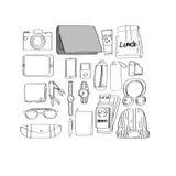 Illustrations-Zeichnungs-Reise-Satz-Sammlung Stockfotografie