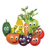 Illustrationsamling av livliga frukter och grönsaker Royaltyfria Bilder