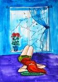 Illustrationsaquarell Ein junges Mädchen mit dem roten Haar, das auf dem Kissen und den Starren am Himmel mit Wolken und Vögeln l stock abbildung