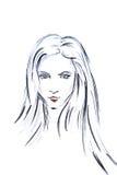 Illustrationsaquarellkontur des Mädchenkopfs mit dem langen Haar Stockfotografie