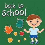 Illustrationsaufkleber zurück zu Schule Mit einem Kind Stockbild