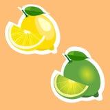 Illustrationsaufklebersatz Zitrone und Kalk trägt Früchte Stockfotografie