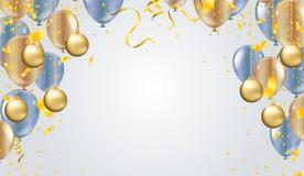 Illustrationsballon des guten Rutsch ins Neue Jahr-Platzes für Weihnachtsbälle stock abbildung