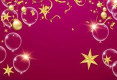 Illustrationsballon des guten Rutsch ins Neue Jahr-Platzes für Weihnachtsbälle vektor abbildung