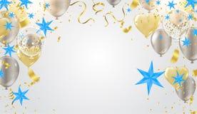 Illustrationsballon des guten Rutsch ins Neue Jahr-Platzes für Weihnachtsbälle lizenzfreie abbildung