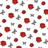 Illustrationsblumen mit nahtlosem Hintergrunddesign des Schmetterlinges Stockfotografie