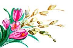 Illustrationsblumenstrauß von Tulpen und von anderen Niederlassungen Stockfoto