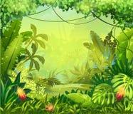 Illustrationsdschungel mit roten Blumen Stockbilder