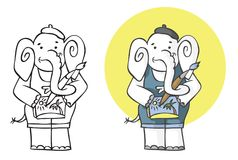 Illustrationselefantkünstler Stockfoto