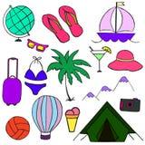 Illustrationsemester, lopp, sommar, Vektor Illustrationer