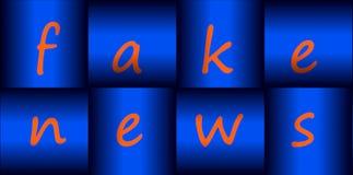 Illustrationsfahne für gefälschte Nachrichten in den metallischen fertigen Knöpfen vektor abbildung
