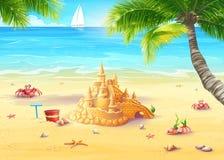 Illustrationsfeiertag durch das Meer mit Sandburg und fröhlichen Pilzen Stockbilder