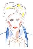 Illustrationsgesichtsmädchen mit dem kurzen Haar Lizenzfreie Stockfotografie