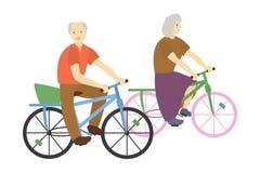 Illustrationsgroßeltern auf Fahrrädern Stockfotografie