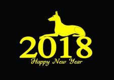 Illustrationsguten rutsch ins neue jahr 2018, Jahr des gelben Hundes Stockfoto
