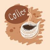 Illustrationshintergrund Schale heißer Getränkkaffee Stockfotografie