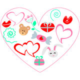 Illustrationskarte des Valentinsgrußtages Zusätzliches Format ENV 8 Lizenzfreies Stockbild