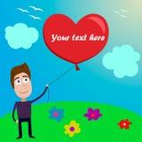 Illustrationskarte des Valentinstags mit Jungen Zusätzliches Format ENV 8 Lizenzfreies Stockfoto