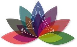 Illustrationskunst des Yogazenlogos mit Hintergrund Stockfotos