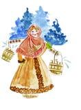 Illustrationsmode, die ein Porträt eines Mädchens in den tragenden Eimern des russischen nationalen Kostüms skizziert Stockbild
