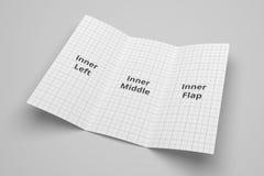 Illustrationsmodell der Broschüre 3D US-Buchstaben dreifachgefaltetes mit dem keinem Gitter 4 Lizenzfreies Stockfoto