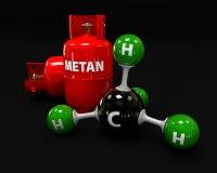 Illustrationsmolekül des Gas-Methans auf einem schwarzen Hintergrund lizenzfreie abbildung
