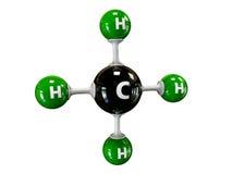 Illustrationsmolekül des Gas-Methans auf einem weißen Hintergrund lizenzfreie abbildung