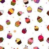 Illustrationsmuster von kleinen Kuchen stock abbildung