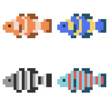 Illustrationspixelkunst-Ikonenfische Lizenzfreies Stockfoto