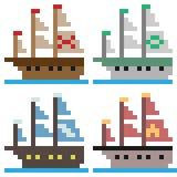 Illustrationspixelkunst-Schiffssegel Stockfoto