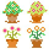 Illustrationspixelkunstikonen-Blumentopf Lizenzfreie Stockfotos
