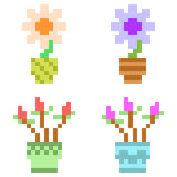 Illustrationspixelkunstikonen-Blumentopf Lizenzfreies Stockbild