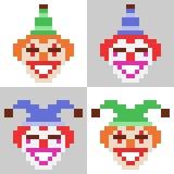 Illustrationspixelkunstikonen-Clowngesicht Lizenzfreies Stockfoto