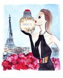 Illustrationsporträt der weiblichen Mode mit Geist in den Händen auf dem Hintergrund des Eiffelturms in Paris Lizenzfreie Stockfotos