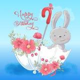Illustrationspostkarte oder Prinzessin für ein Kinderzimmer - nettes Kaninchen in einem Regenschirm mit Blumen, Vektorillustratio stock abbildung