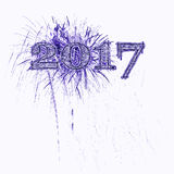 Illustrationspurpur mit 2017 Feuerwerken Stockfoto