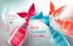 Illustrationssammlung farbige offene Flaschen mit Nagellack wurde in der Form von Schmetterlingen verschüttet lizenzfreie abbildung