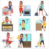 Illustrationssatz der Hausarbeit zu Hause flacher Farb stock abbildung