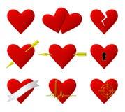 Illustrationssatz der Herzsymbole 3d Stockfotografie
