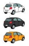 Illustrationssatz des kleinen Autos (ecocar oder citycar) Lizenzfreie Stockfotografie