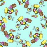 Illustrationssatz Eiscreme sortiert Nahtloses Muster stock abbildung