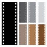 Illustrationssatz Filmstreifen lokalisiert auf weißem Hintergrund Stockfotografie