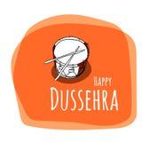 Illustrationssatz mit Attributen für glückliches Dussehra-Festival von Indien-Hintergrund Stockbild