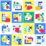 Illustrationssatz mit Konzepten über Reiseanmeldung lizenzfreie stockfotografie