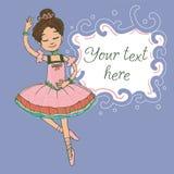 Illustrationsschablone mit Text und schönem Brunetteballerinamädchentanzen Stockfoto