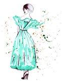 Illustrationsskizze der weiblichen Mode in der unterschiedlichen Kleidung, gemalt mit hellen Acrylfarben Lizenzfreies Stockfoto