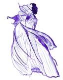 Illustrationsskizze der weiblichen Mode in der unterschiedlichen Kleidung, gemalt mit hellen Acrylfarben und Tintenschwarzem Lizenzfreies Stockfoto
